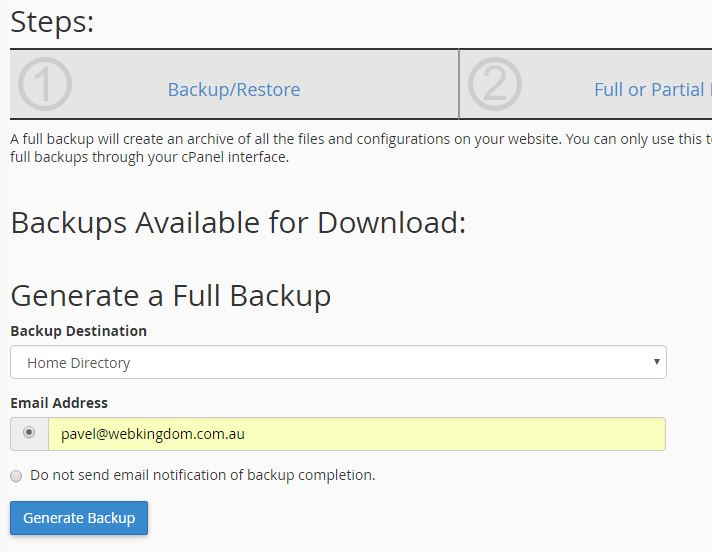 how to backup your website cpanel screenshot 3